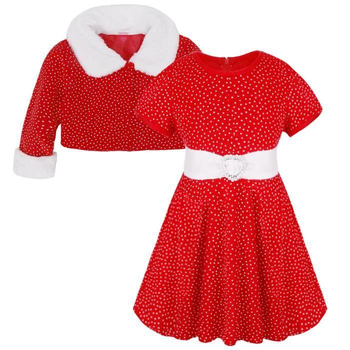 1743ae8f94d Robe De Noël fille Bébé vintage Rouge À Pois - à manches courtes fête  strass boucle anniversaire - de 12 mois à 5 ans