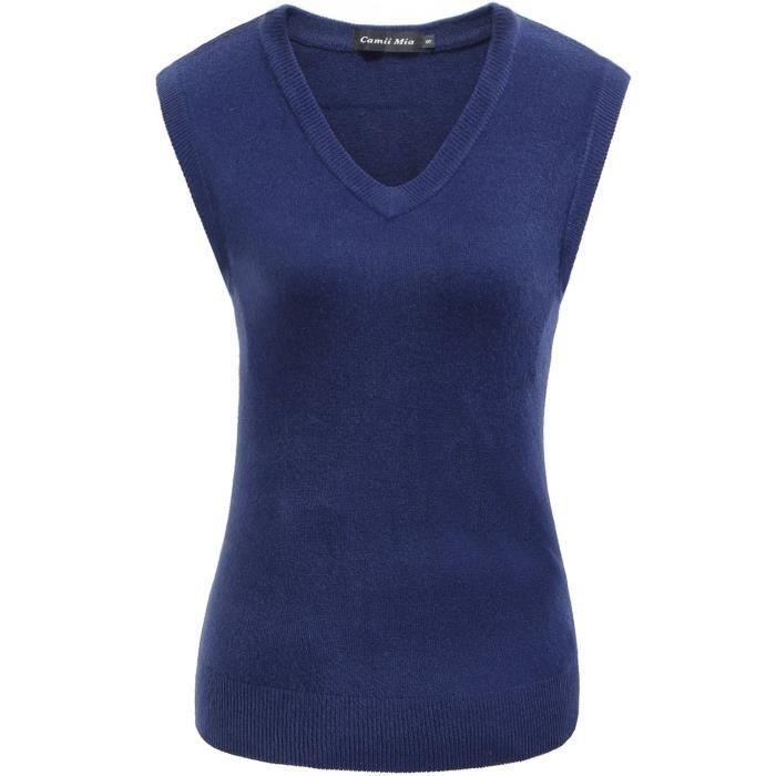 Womens Solid Knit Classic V Neck Sleeveless Pullover Sweater Vest