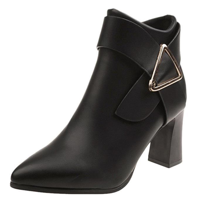 Talon Cuir Bl09080411662 Bout Bottes En Solide Couleur Haut Femmes Hiver Rond Zipper Chaussures qnwYf7tw