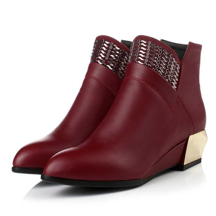 Nouveau automne et l'hiver en Europe et en Amérique marée femmes Colombie Lun Mading bottes en dentelle sauvage talons bas bottes... Ni7IGep