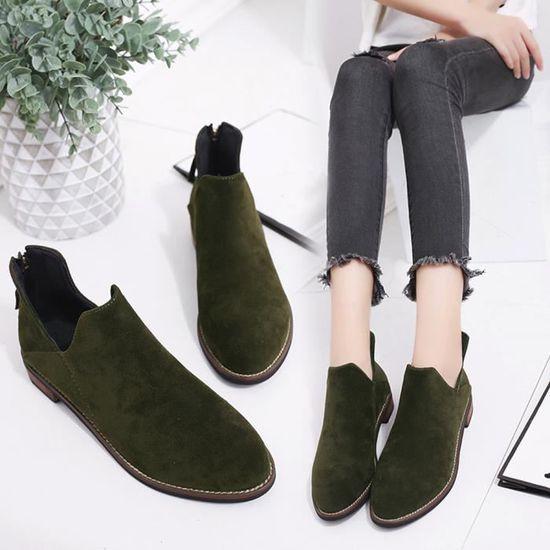Bottines Chaussures Solides Boucle Zip Bottes Martin Chaud Femmes Dames Faux vert Spentoper A6qYSxpW