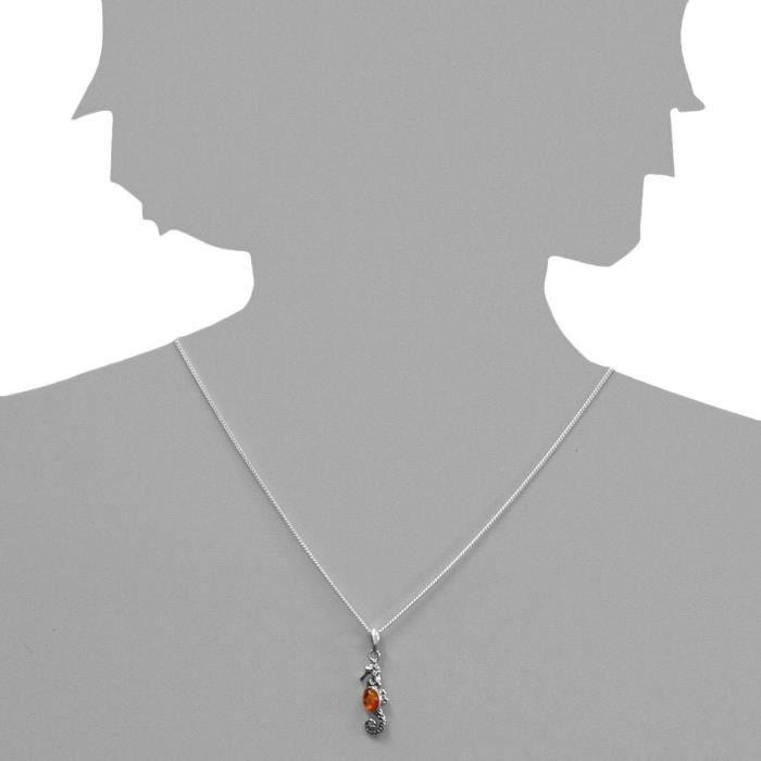 241a200850890 - Collier Femme - Argent 925-1000 - Ambre CPPZ5