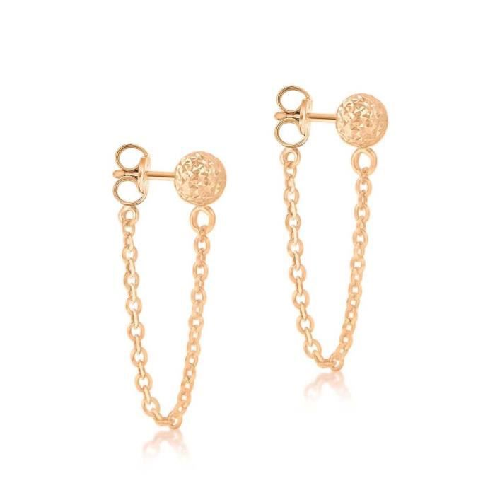 9ct Rose Gold Diamond Cut 6mm Ball And Chain Stud Earrings PBE5B