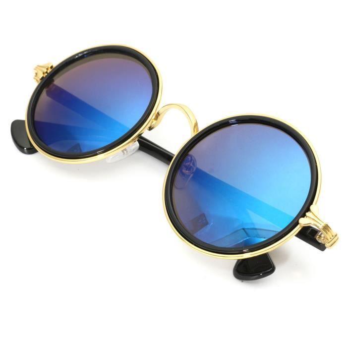 TEMPSA UV400 Lunettes Soleil Ronde Rétro Style Miroir Pour Homme Femme OR ET BLEU