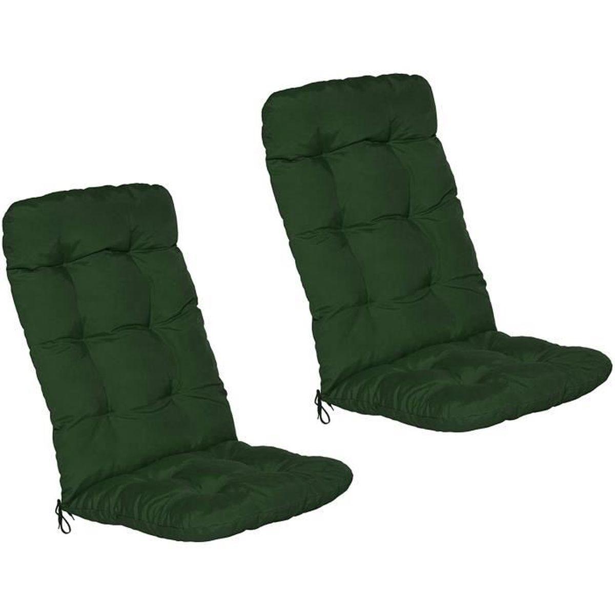 nouveaux styles 6e67b a3bd9 BEAUTISSU Matelas Coussin pour Chaise Fauteuil de Jardin terrasse Flair HL  120x50x6cm Vert foncé Set de 2 - Dossier Haut