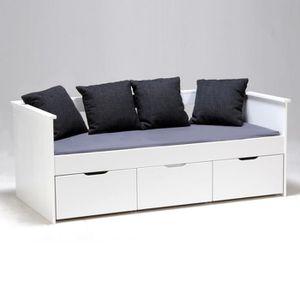 lit 1 personne blanc laque achat vente lit 1 personne. Black Bedroom Furniture Sets. Home Design Ideas