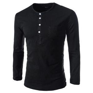 b0f9e986d9550 T-SHIRT Tee Shirt Homme Manche Longue Maruque Polo Tshirt