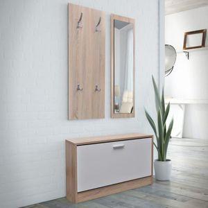 MEUBLE À CHAUSSURES Vestiaire d'entrée 3 éléments en bois Blanc et asp