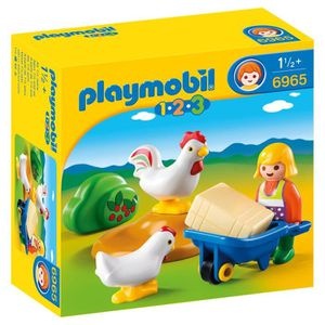 BROUETTE Playmobil 1.2.3. - 6965 - Agricultrice Avec Brouet