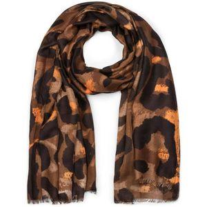 b5fa5d90ad33 styleBREAKER Châle pour femme avec grand motif léopard et franges, écharpe  d hiver, étole, foulard 01017085  Marron