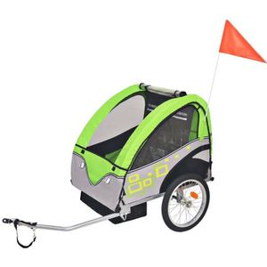 REMORQUE VÉLO Remorque de vélo pour enfants Gris et vert 30 kg