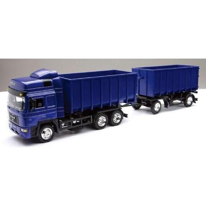 Réplique officielle du célèbre camion Man avec sa double benneVEHICULE MINIATURE ASSEMBLE - ENGIN TERRESTRE MINIATURE ASSEMBLE
