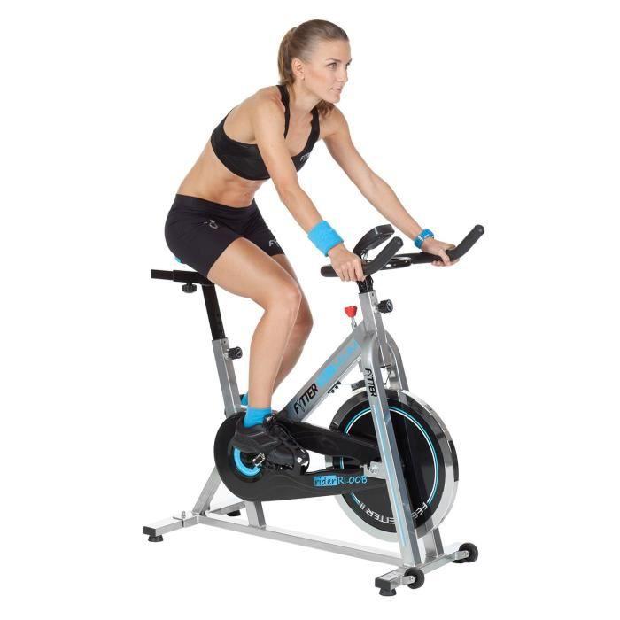 FYTTER Vélo biking RI-00B avec 13 kg de roue d'inertie Ergo Tech. Écran avec 7 fonctions. Spin bike interieur spinning.