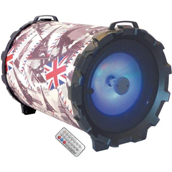 Bluetooth V2.1 - Lumière multicolore - Ecran LED - Haut-parleur 20 Watts (6.5 Inch) - Fonction karaokéENCEINTE NOMADE - HAUT-PARLEUR NOMADE - ENCEINTE PORTABLE - ENCEINTE MOBILE - ENCEINTE BLUETOOTH - HAUT-PARLEUR BLUETOOTH