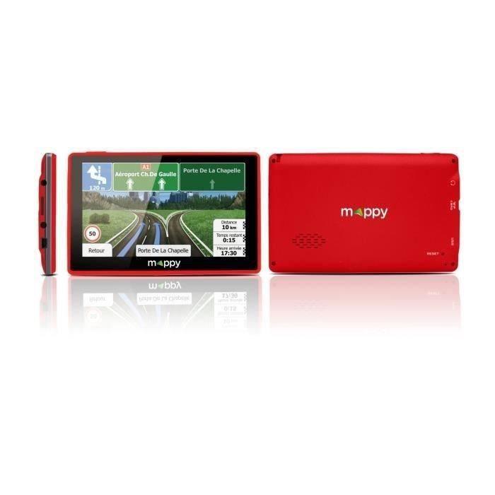 MAPPY ITI E-438 GPS Slim Rouge avec Housse Carte à Vie Intégrée