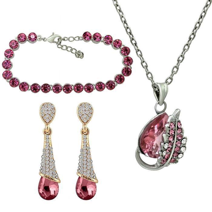 Femmes Cristal Rose Séduisante Pierre Pendentif, boucles doreilles et Combo Bracelet - Co1104653m J4QGT