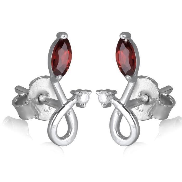 Adens Jewels - Boucles doreille Grenat et Zirconium sur argent rhodié - Bijou Femme - couleur roug