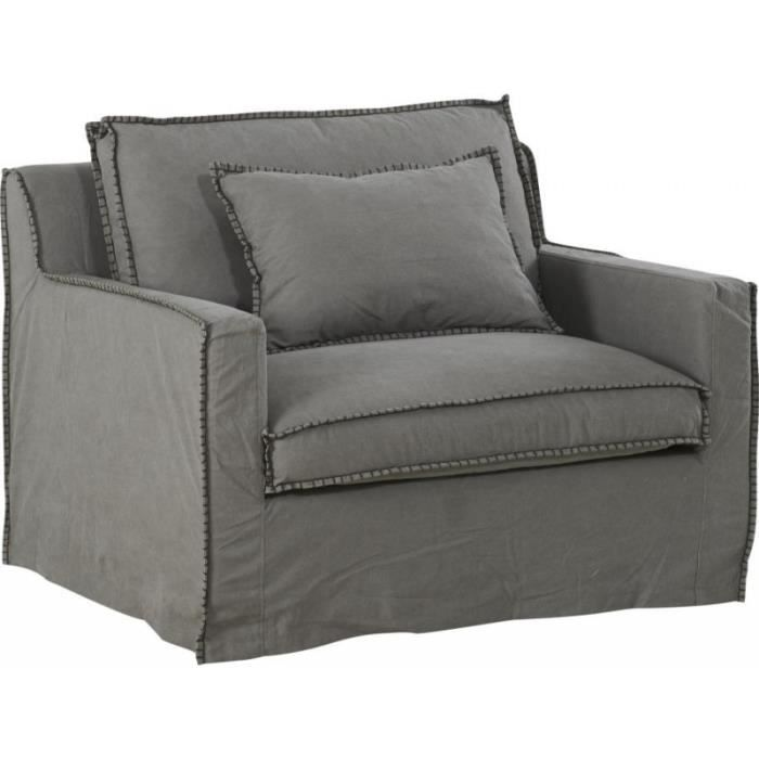 Fauteuil large cocooning Tinos en lin Gris 112x92xH81cm Achat