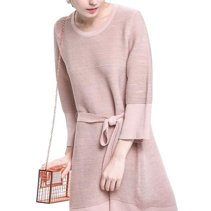 Robe Mi Longue Femme Automne Hiver Col Rond Manche Longue Vintage avec Ceinture en Coton Couleur Unie Rose