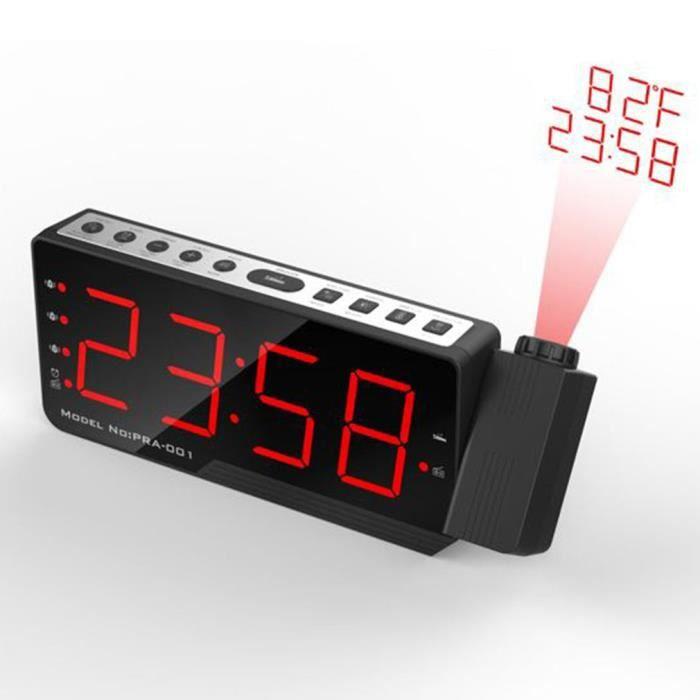 Horloge De Projecteur Numérique Radio-réveil Fm Murale Usb Chargable Alarme Lumière Rouge