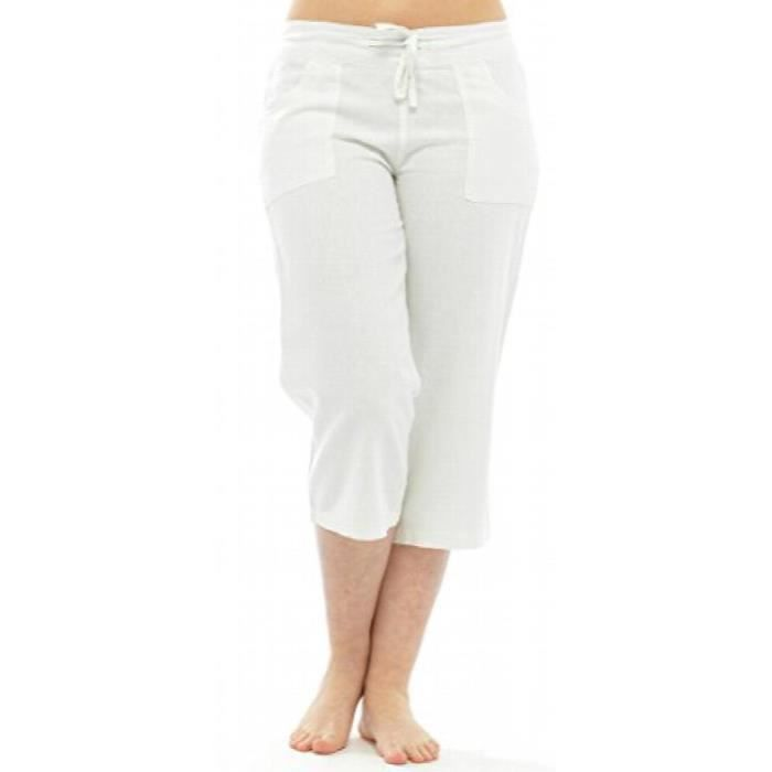 Pour Jipnk Lin Taille Avec Élastique Blanc Corsaire En Femme dorBEQxWCe