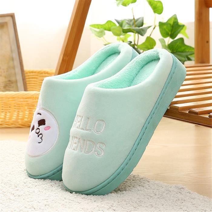 chaussons femmes Chaud intérieur Chaussures à semelles souples Bande dessinée mignonne Chaussures fourrées fem dssx358verte41 kC5u4583QZ