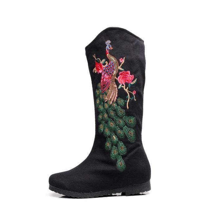 Hiver nouvelles femmes bottes chaussures dames style folk loisirs chaussures brodées bottes de coton,rouge,37