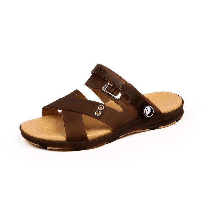 Eté Sandales homme - chaussons de plage en toile pour hommes cool LKG-XZ255Marron40 8pL0uDj