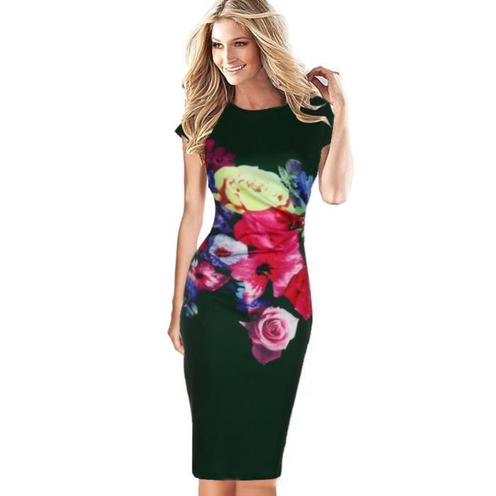 c703c111f30 Manches Soirée Fleur À Party Courtes Femme Imprimé De Robe Vert Floral  Dedasing® Élégante nwq6YvXEqa