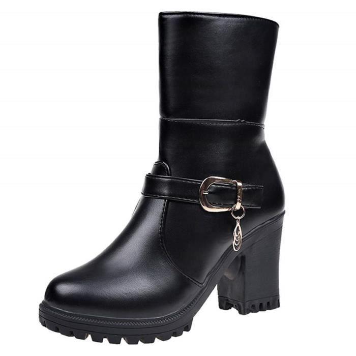 professionnel vente usa en ligne chaussure Bottes Boot Femme Pas Cher, by Shoes Peep Toes Bottines Art Chaussures  Baskets Femme Blanche Bottine Bottes Rondes en Cuir à Talons
