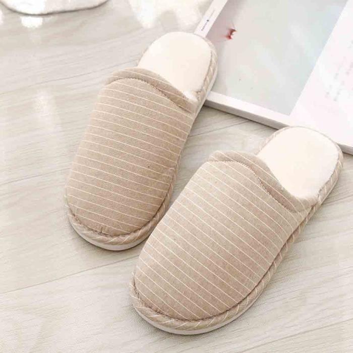 Souples Unisexe Sol Slipper Chaussures Plates Chambre De Pantoufles D'intérieur Hiver Filles beige Maison xqF6SA0wq