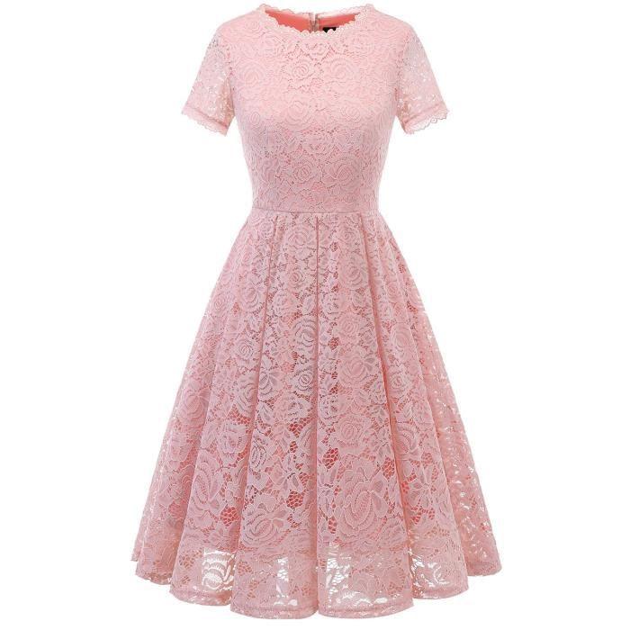 Florale Vintage Femmes En D'honneur Dentelle Demoiselle Tea Robe lKF1JcT