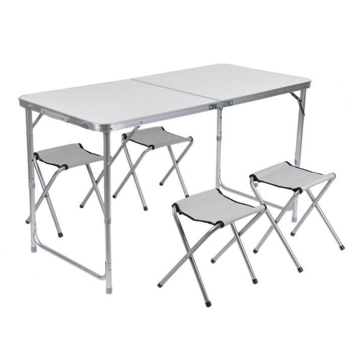 TABLE DE CAMPING Table De Camping Portable Pliant Avec 4 Chaises