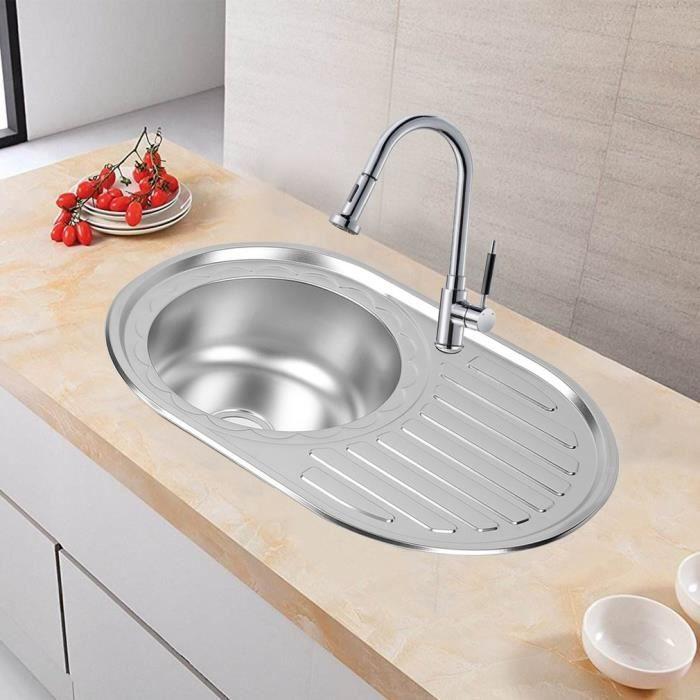 vier lavabo cuisine vier poser ronde en acier inox 77x50cm vier de blanchisserie achat. Black Bedroom Furniture Sets. Home Design Ideas