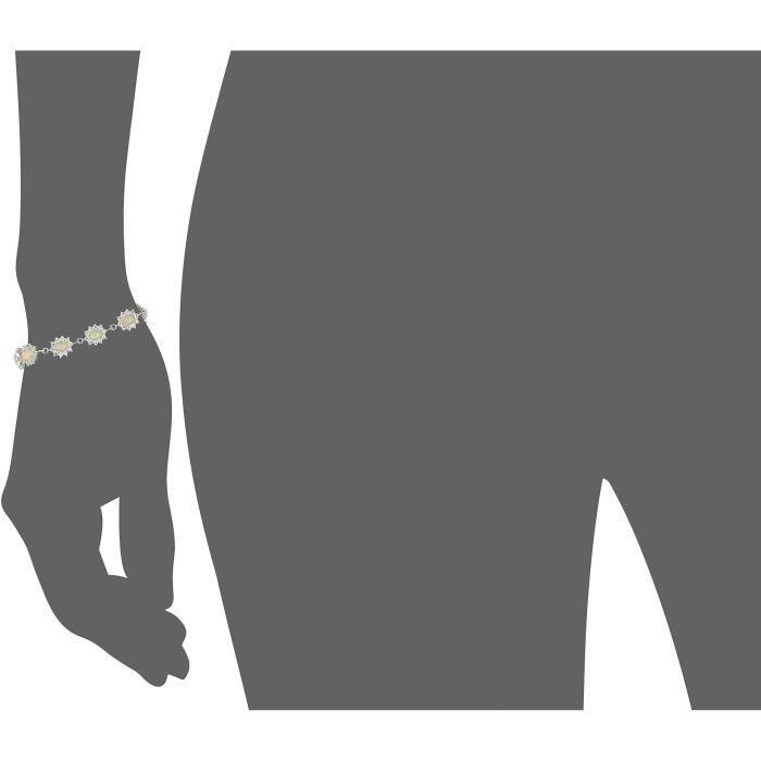Craze Ss Ethiopian Opal And White Topaz Link Bracelet UWCZM
