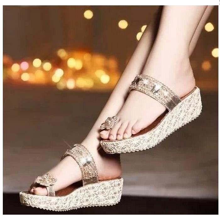 Platform Wedges diamant clip Toe Chaussons Faites glisser pour les femmes de cristal Chaussures 7kSvBRR9N