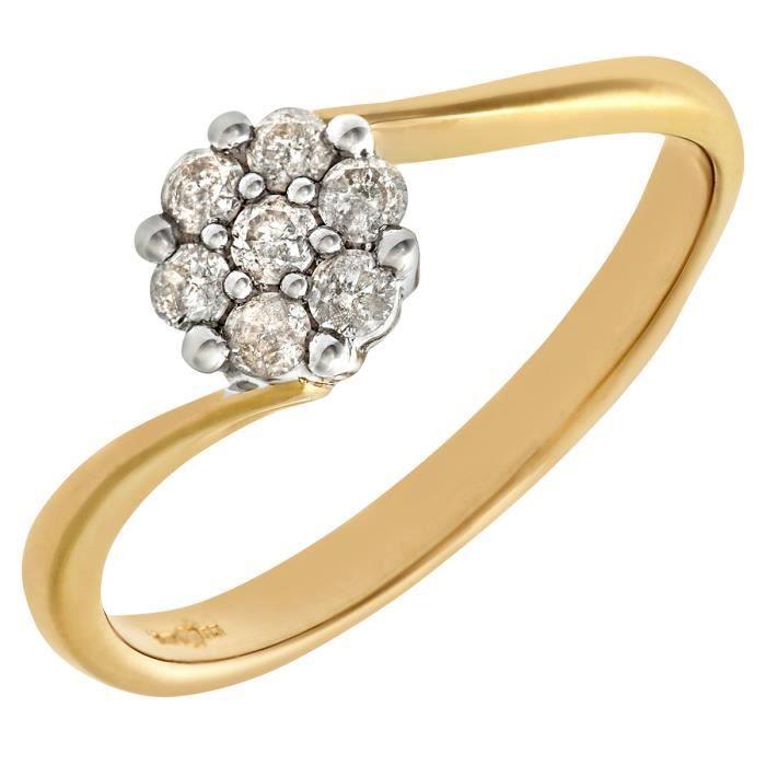 Revoni Bague Diamant Or Jaune 375° Femme: Poids du diamant : 0.2 ct - CD-PR06669Y-P