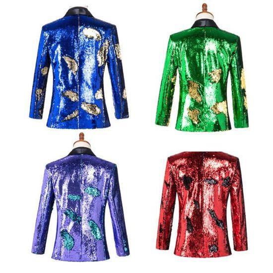 Marque De Paillettes Flip Slim Double couleur Masculin Veste Smoking Vêtement Coupe Pour Homme BRnWqwTf