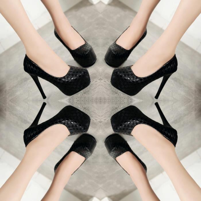 Femmes sexy minces talons hauts chaussures de plate-forme de pompes pour mariage de mariage couleur noir TAILLE 41 xARiOE5O