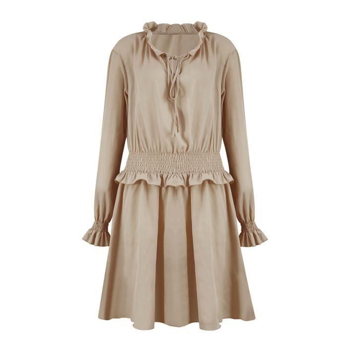 Slim Ruffle Taille Robe V Mesdames Courte De Fête Neck Femmes Volantée Vacances Robes kaki ABT6fqX