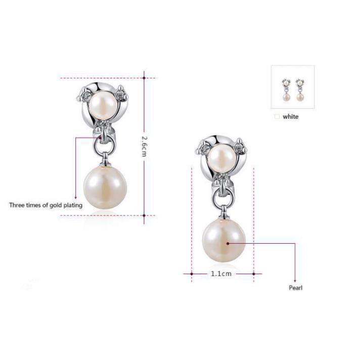 Perle parure de bijoux femme ,ensemble de bijoux femme plaqué dor blanc
