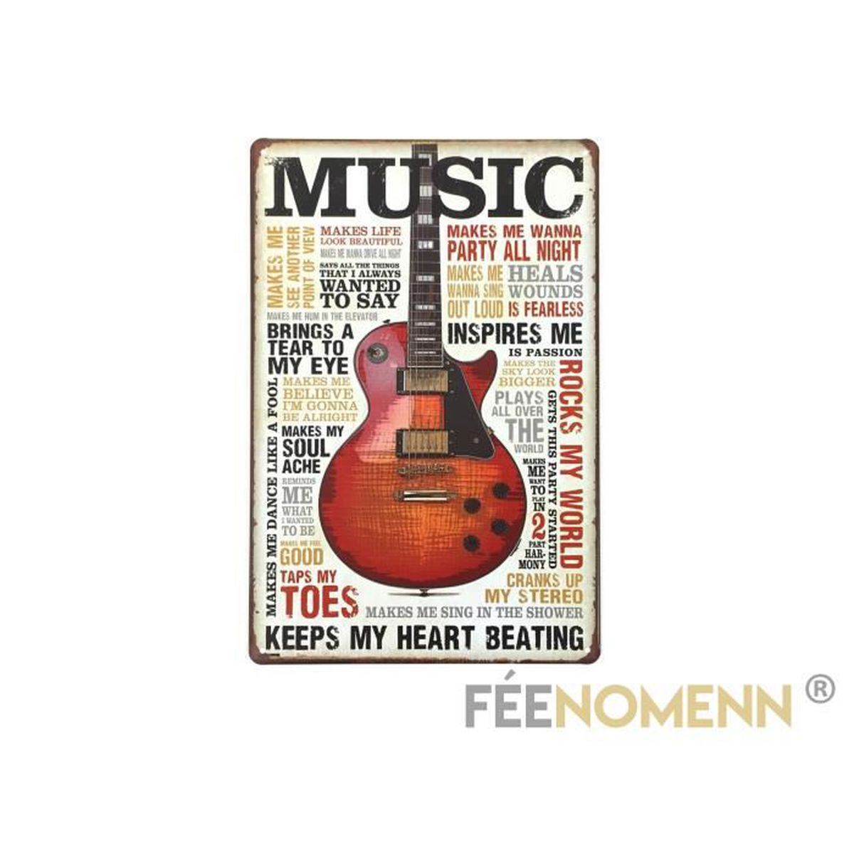 Plaque Métal Déco Vintage Music Guitare 20x30cm Achat Vente