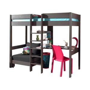 lit mezzanine combin 90x200 cm avec fauteuil extensible en pin massif coloris taupe achat. Black Bedroom Furniture Sets. Home Design Ideas