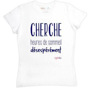 T-SHIRT T-shirt femme en coton CHERCHE heures de sommeil d