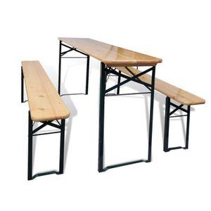 table en bois avec banc achat vente pas cher. Black Bedroom Furniture Sets. Home Design Ideas
