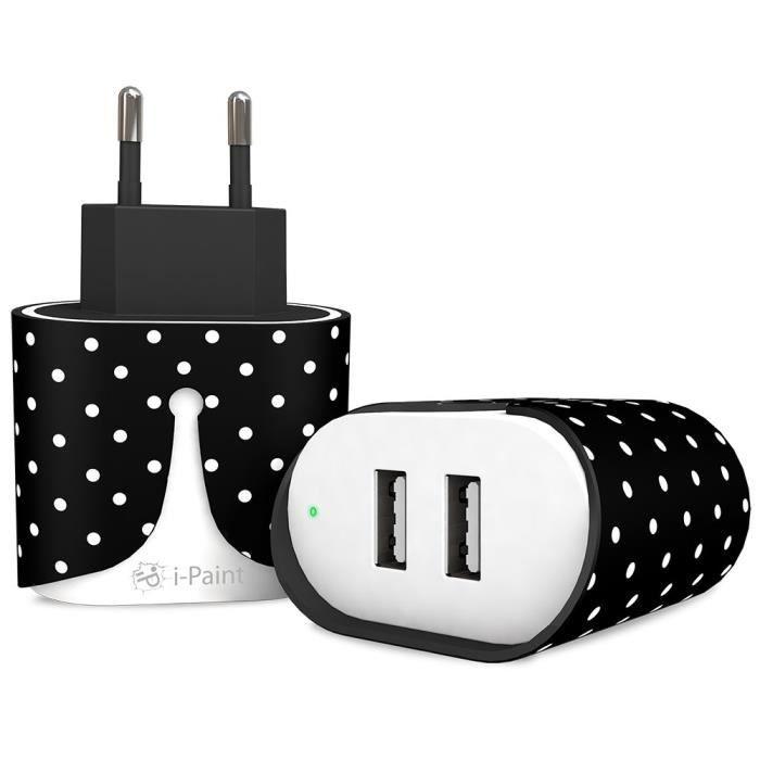 I-PAINT Chargeur Secteur 2 ports USB - Noir à pois