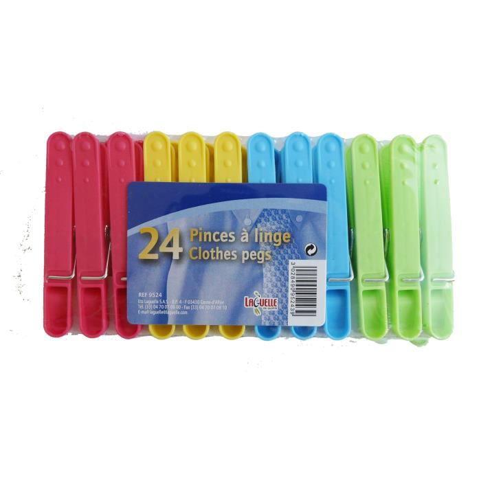 LAGUELLE 24 Pinces à linge en plastique