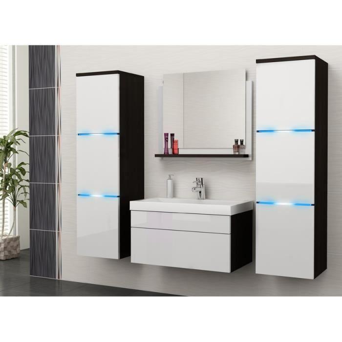 Salle de bain compl te luna noir blanc fa ades laqu es for Vendeur salle de bain
