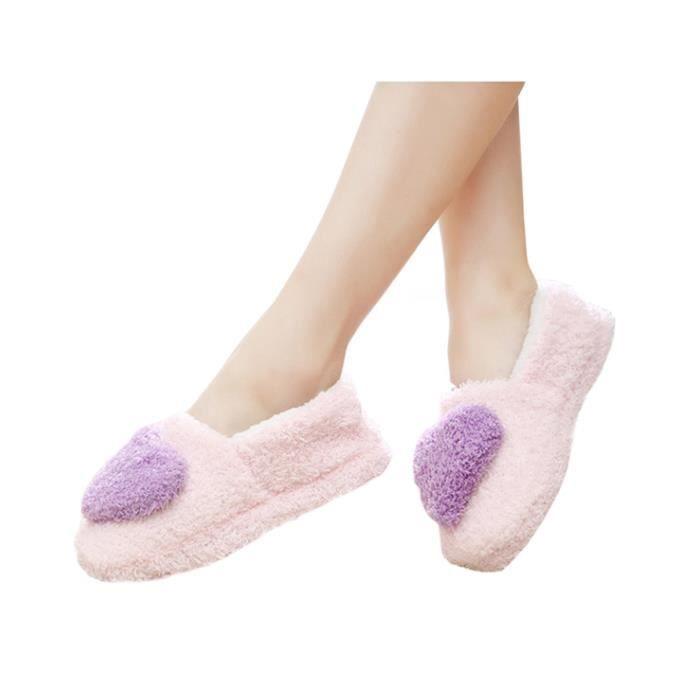 Pantoufles Peluches à Cœur Bicolore Chaussure Chaussons Femme Pour Maison/Bureau Chaussons en Voleurs Corail Europe Taille 36-37