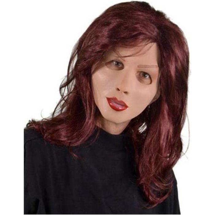 MASQUE - DÉCOR VISAGE masque femme en latex avec une longue perruque de